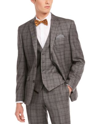 Men's Slim-Fit Gray/Brown Plaid Suit Separate Jacket, Created for Macy's