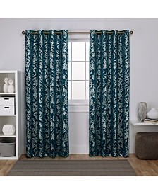 Exclusive Home Curtains Watford Distressed Metallic Print Blackout Grommet Top Curtain Panel Pair