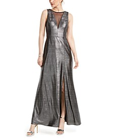 Metallic Illusion-Mesh Gown