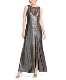 Nightway Metallic Illusion-Mesh Gown