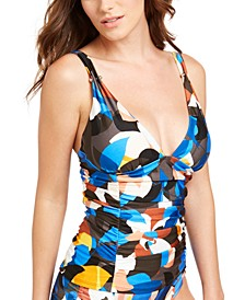 Printed Ruched Tankini Top