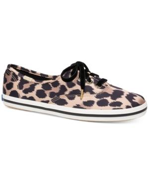 Kate Spade X  Champion Leopard Satin Sneakers In Tan Multi