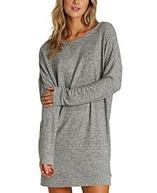 Juniors' Reset Button Cutout Sweatshirt Dress
