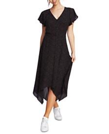 1.STATE Printed Handkerchief-Hem Dress