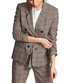 Ruched-Sleeve Plaid Blazer