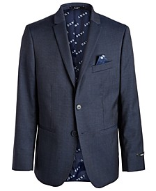 Big Boys Classic-Fit Stretch Navy Blue Neat Suit Jacket