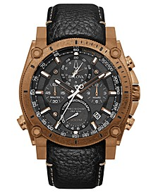 Men's Chronograph Precisionist Black Leather Strap Watch 46.5mm
