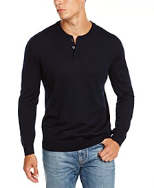Men's Henley Merino Wool Blend Sweater, Created for Macy's