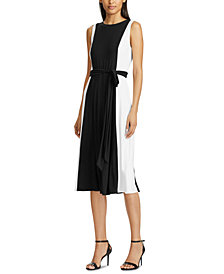 Lauren Ralph Lauren Petite Colorblocked Belted Midi Dress
