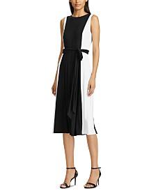 Lauren Ralph Lauren Petite Colorblocked Belted Midi Dress
