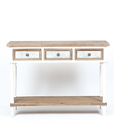 Luxen Home 3-Drawer Wood Console Table with Open Storage