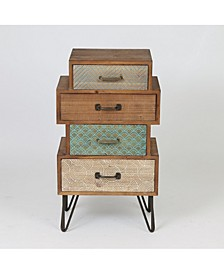Chic 4 Drawer Cabinet End Table