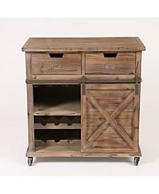 Rustic Wood Sliding Barn Door Wine Cabinet