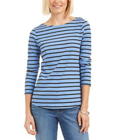 Charter Club Petite Printed 3/4-Sleeve Top, Created for Macy's