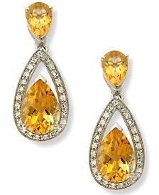 Semi-Precious Stone Pear and Diamond Drop Earrings in Sterling Silver