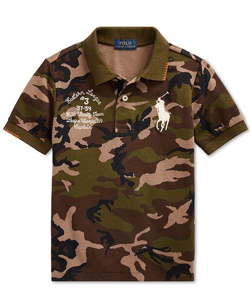 Polo Ralph Lauren Toddler Boys Big Pony Camo Cotton Mesh Polo Shirt