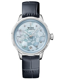 Mido Women's Swiss Automatic Rainflower Diamond-Accent Blue Leather Strap Watch 34mm, Created For Macy's