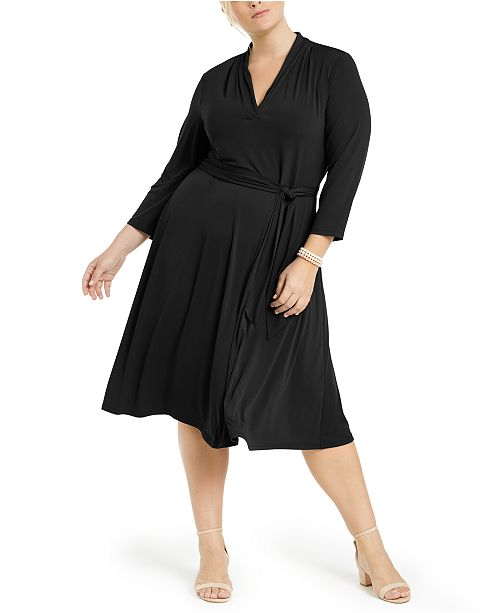 Plus Size V-Neck Belted Dress, Created for Macy\'s