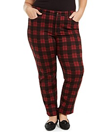 Plus Size Plaid Tummy-Control Jeans, Created for Macy's
