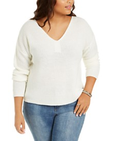 Derek Heart Trendy Plus Size Lace-Up-Back Sweater