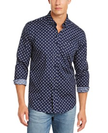Club Room Men's Regular-Fit Performance Stretch Paisley-Print Shirt, Created for Macy's
