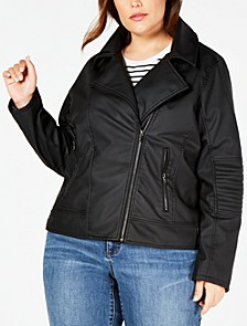Juniors' Plus Size Faux-Leather Jacket