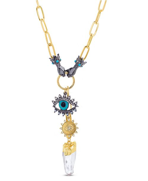 Steve Madden Evil Eye and Hands Pendant Necklace