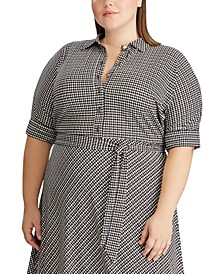 Plus Size Houndstooth Matte Jersey Shirtdress