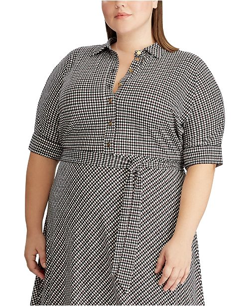 Plus Size Houndstooth Matte Jersey Shirtdress