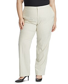 Plus Size Pinstripe-Print Straight-Leg Pants