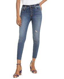 Donna High-Rise Button-Fly Ankle Skinny Jeans