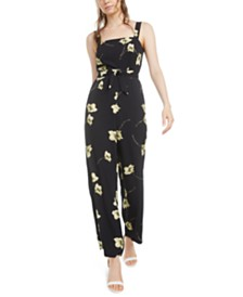 Bar III Floral Tie-Waist Jumpsuit, Created for Macy's