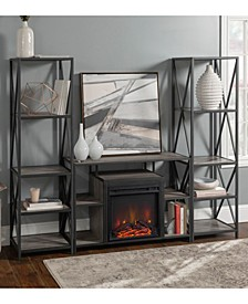 3 Piece Rustic Fireplace TV Stand Set