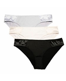 BCBGMAXAZRIA 3 Pack Satin Hip Euro Bikini