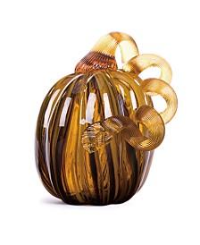Glitzhome Striped Glass Pumpkin
