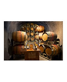 """Christopher Knight Collection - Wine Barrels in Napa Ca Canvas Art, 54"""" x 36"""""""