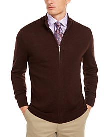Men's Solid Full-Zip Mock-Neck Merino Wool Blend Sweater, Created for Macy's