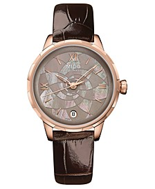 Women's Swiss Automatic Rainflower Brown Leather Strap Watch 34mm