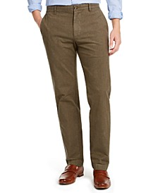 Men's Red Fleece Slim-Fit Stretch Plaid Chino Pants