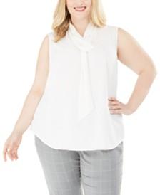 Calvin Klein Plus Size Tie-Neck Sleeveless Top