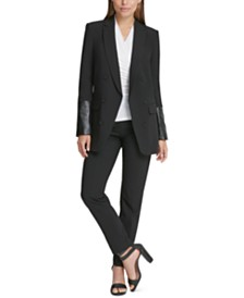 DKNY Double-Breasted Jacket With Faux-Leather Sleeves