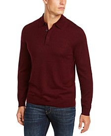 Men's Merino Wool Polo Sweater, Created for Macy's