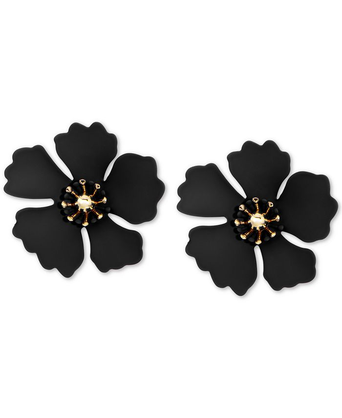 Zenzii - Gold-Tone & Suede-Painted-Finish Petunia Stud Earrings