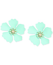 Gold-Tone & Suede-Painted-Finish Petunia Stud Earrings