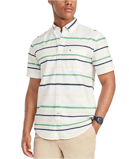 Tommy Hilfiger Men's Custom-Fit Collins Print Striped Short Sleeve Shirt, Created for Macy's