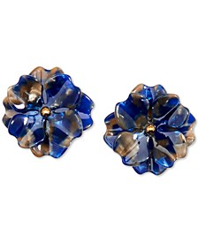 Gold-Tone & Acetate Layered Flower Stud Earrings