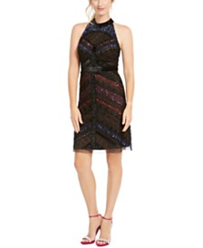 Adrianna Papell Beaded Halter Dress