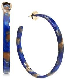 """Medium Gold-Tone & Acetate Thin Open Hoop Earrings 2"""""""