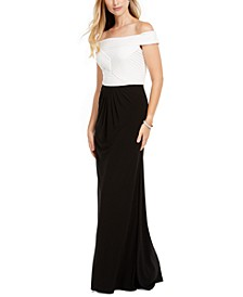 Pintuck Off-The-Shoulder Gown