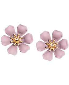 Gold-Tone & Suede-Painted-Finish Lily Stud Earrings